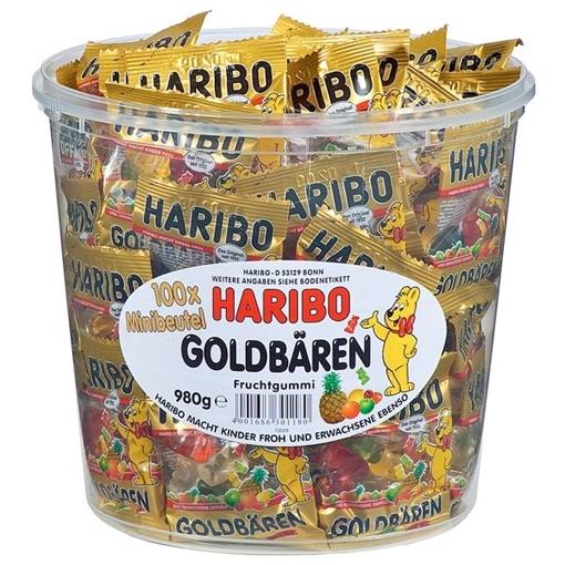 Billede af Haribo Goldbären Minibeutel in der Runddose 980 g.